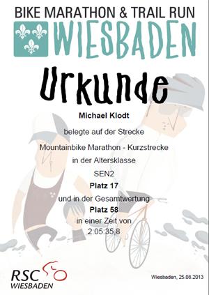 Urkunde Wiesbaden Bikemarathon 2013 - Michael Klodt